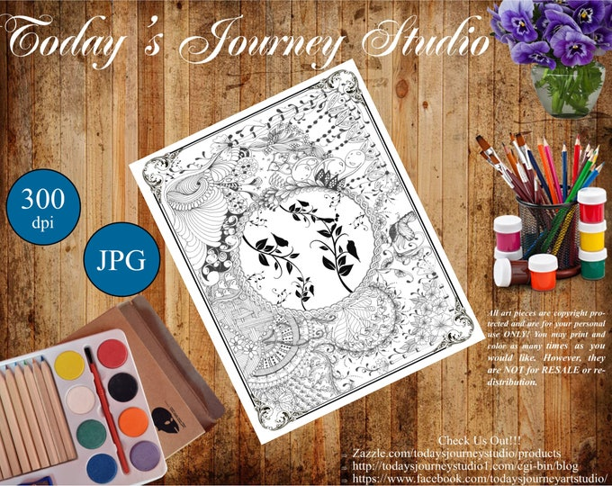 """ZENTANGLE® Inspired Coloring pages Printable Coloring Page for Adults and Children, Art Nouveau  """"Love Birds!"""""""