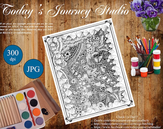 """ZENTANGLE® Inspired Coloring pages Printable Coloring Page for Adults and Children, Art Nouveau ~ Steps of Love!"""""""