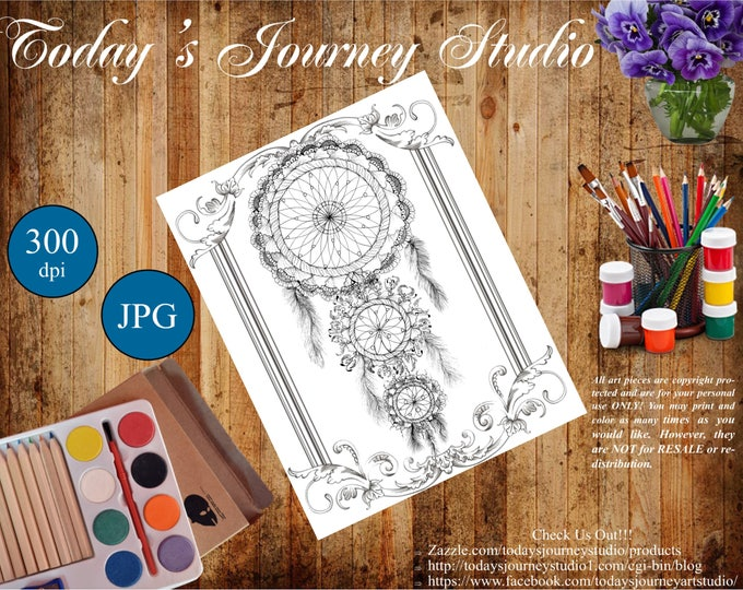 """ZENTANGLE® Inspired Coloring pages Printable Coloring Page for Adults and Children, Art Nouveau ~ """"Linda Lee!"""""""