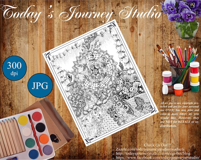 """ZENTANGLE® Inspired Coloring pages Printable Coloring Page for Adults and Children, Art Nouveau - """"Serendipity!"""""""