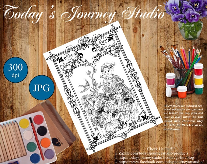 "ZENTANGLE® Inspired Coloring pages Printable Coloring Page for Adults and Children, Art Nouveau ""Moment of Solitude"""