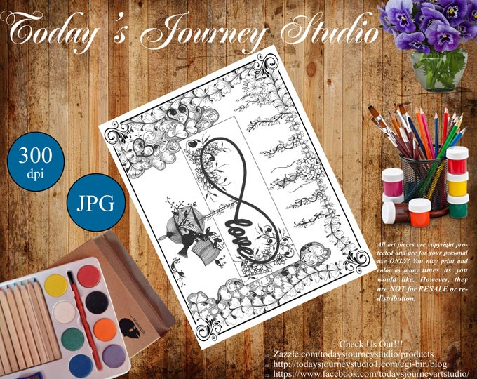 "ZENTANGLE® Inspired Coloring pages Printable Coloring Page for Adults and Children, Art Nouveau - ""Love for Infinity!"""