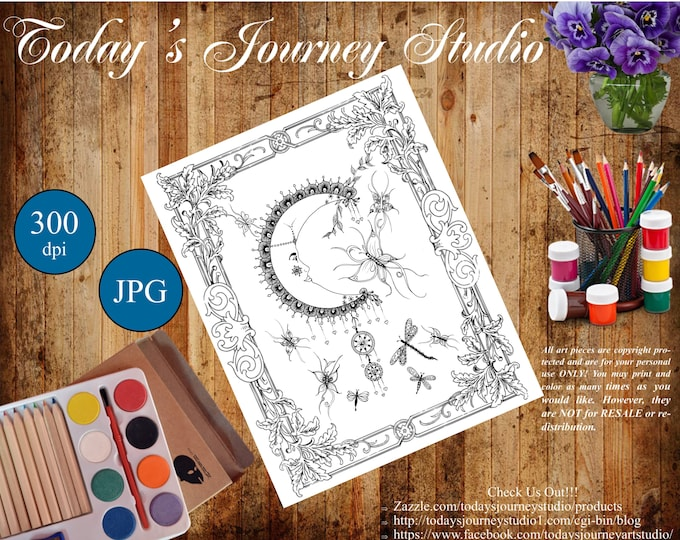 "ZENTANGLE® Inspired Coloring pages Printable Coloring Page for Adults and Children, Art Nouveau  ~ ""By The Light of The Moon"""