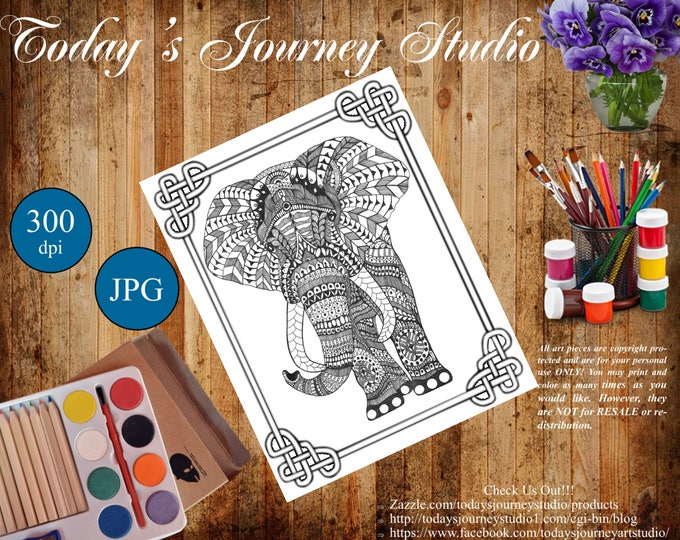 "ZENTANGLE® Inspired Coloring pages Printable Coloring Page for Adults and Children, Art Nouveau - ""Proud Elephant!"""