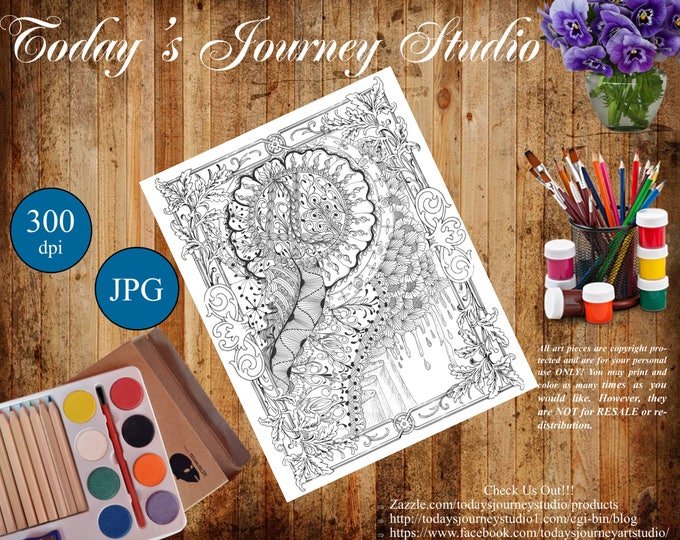 "ZENTANGLE® Inspired Coloring pages Printable Coloring Page for Adults and Children, Art Nouveau - ""Land of Honey"""