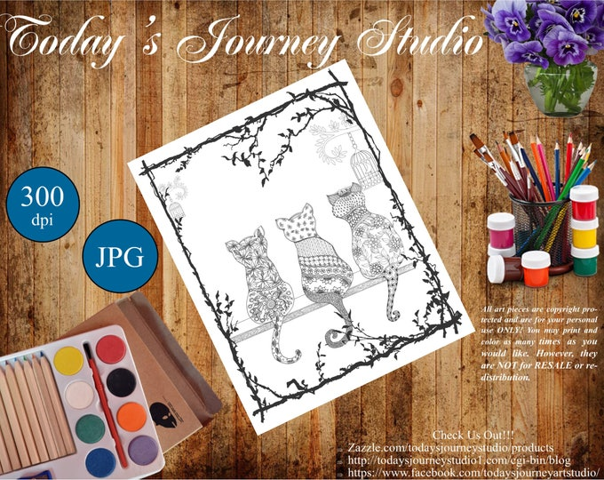 "ZENTANGLE® Inspired Coloring pages Printable Coloring Page for Adults and Children, Art Nouveau  ""3 Kittens!"""