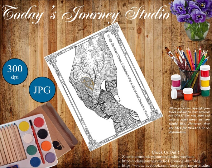 "ZENTANGLE® Inspired Coloring pages Printable Coloring Page for Adults and Children, Art Nouveau ~ ""In My Darkest Hour""."
