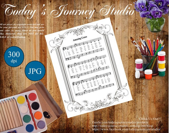 Amazing Grace Coloring Page | Posh Coloring Studio | Adult ... | 448x570