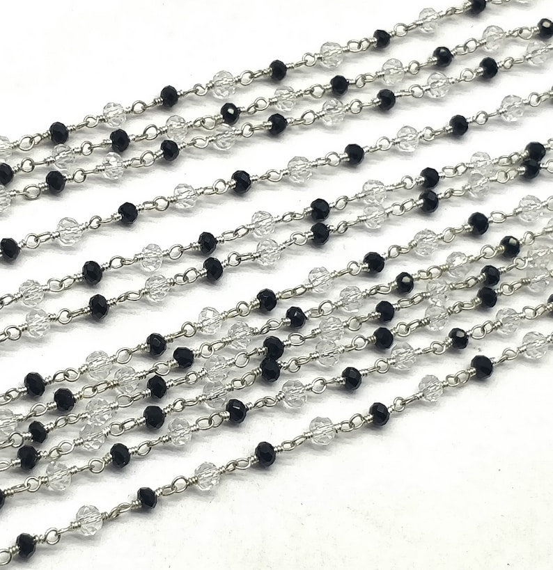 100/% Top Quality 10 Feet Rosary Beads Chain Black Spinel 5x3-11x7 mm,Fancy /& Smooth Silver Plating SE129