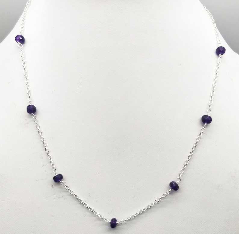 AAA+ Quality Amethyst Silver Plated Necklace 5 mm Rondelle /& Faceted 17.5 Inch Long SN34