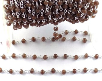 5 Feet Brown Chalcedony Gemstone Faceted 4mm 925 Silver Plated Rosary Chain.