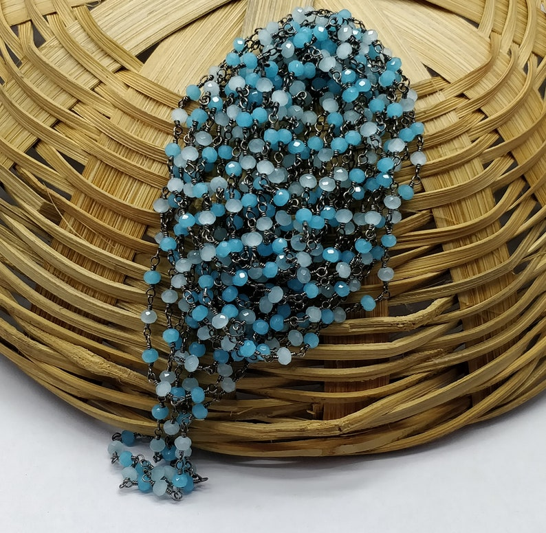 100/% Top Quality Natural 10 Feet Chain Black Plated Blue /& Aqua Chalcedony 3-4mm RB297 Rondelle Faceted with Good looking