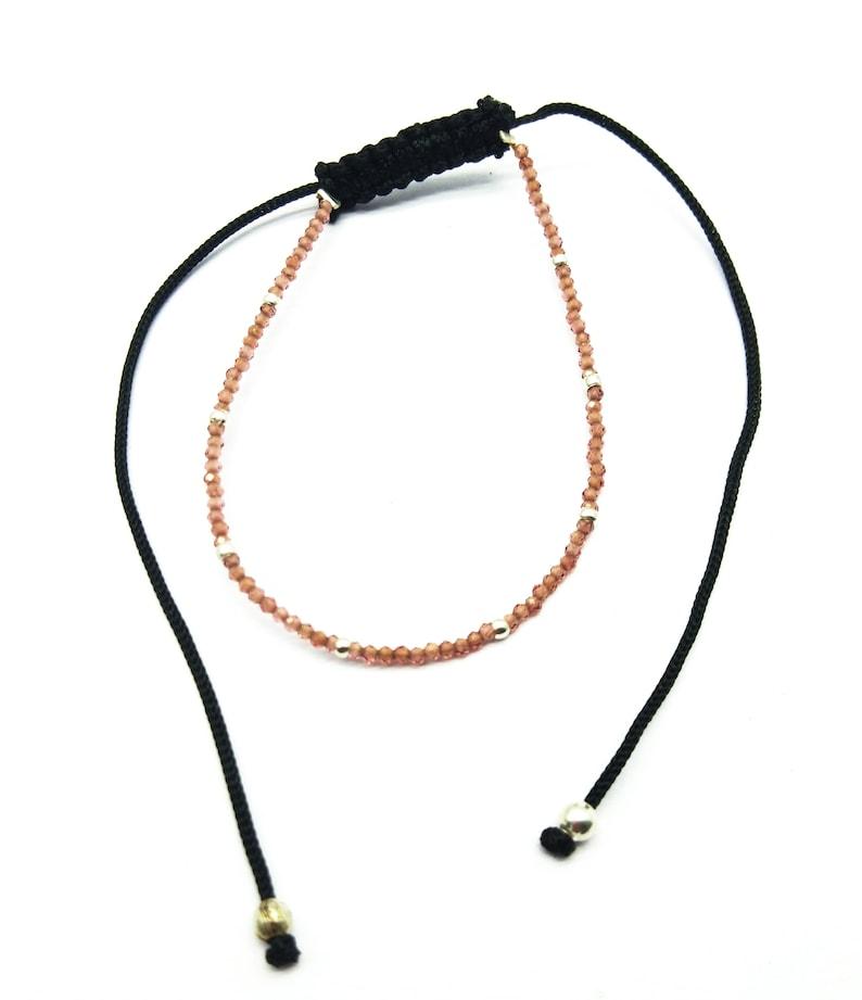 BB13 Rondelle /& Faceted 7 Inch Long Loose Gemstone Hessonite Garnet Bracelet Adjustable 1 mm
