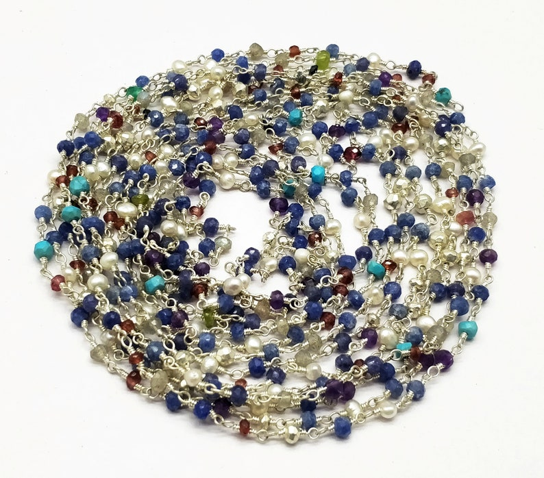 100/% Top Quality 10 Feet Rosary Beads Chain Multi Gemstone 3-4 mm,Rondelle /& Faceted Silver Plating SE278