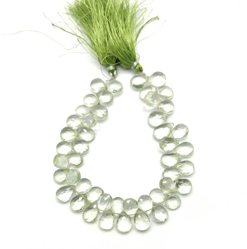 MG10 Pear /& Faceted with 8 Inch Long 1 Strand Natural Green Amethyst Size 10x8-12x8 mm