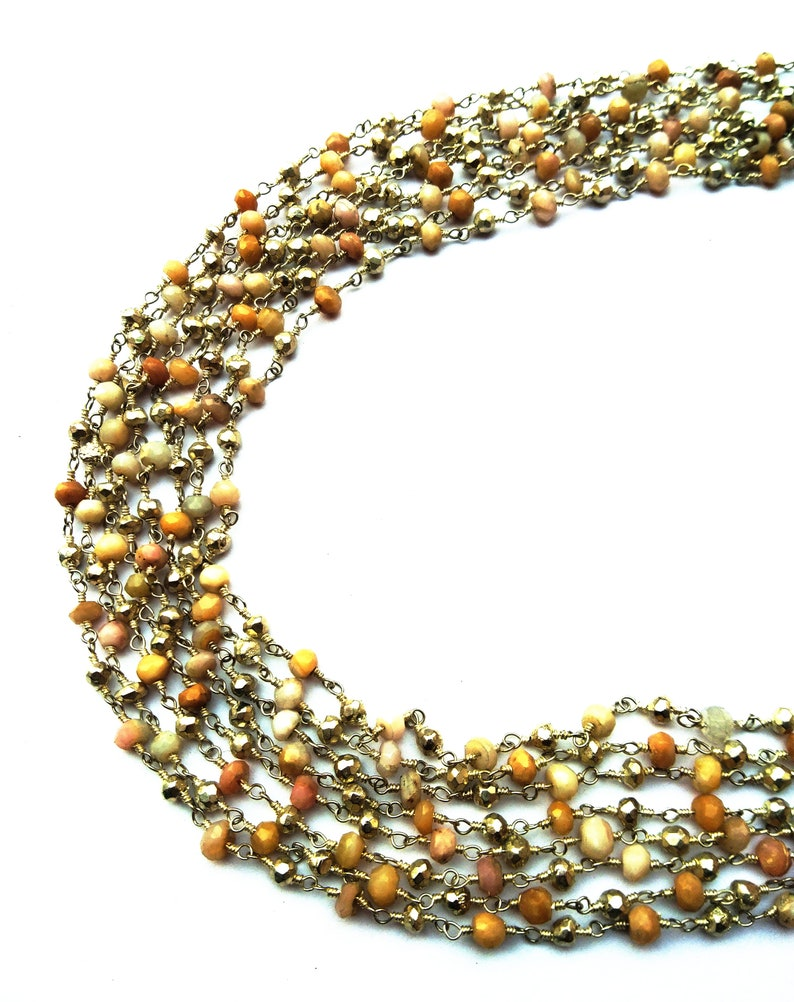 Beautiful Natural Pink Opal Silver Pyrite Rondelle /& Faceted Silver Plated  Rosary Chain 10 Feet RB36 Rainbow Moonstone 4 mm
