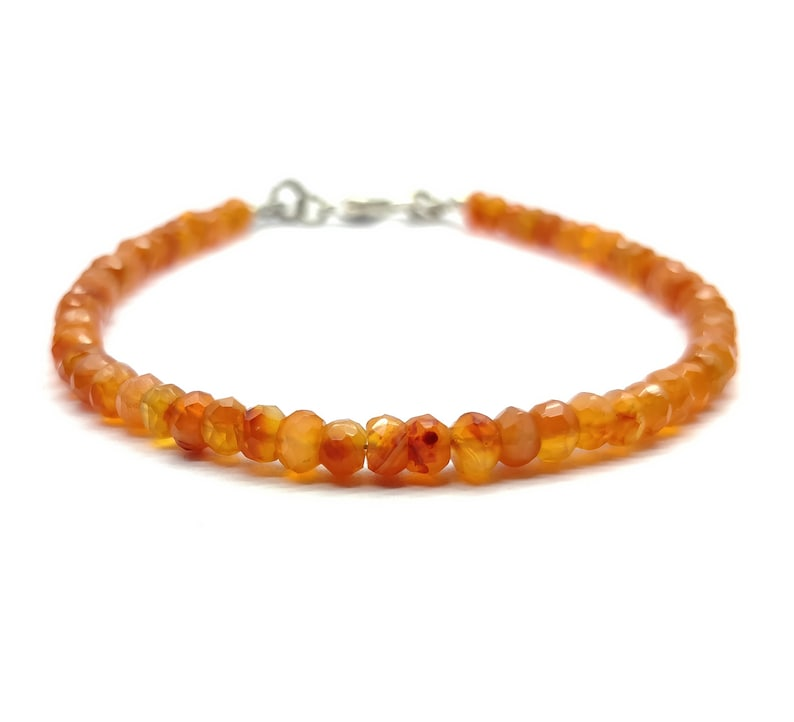 BR139 AAA+++ Super Quality Handmade Bracelet Carnelian 4 mm Rondelle Faceted Healing Gemstone energy holidays chakra 7 Inch Long