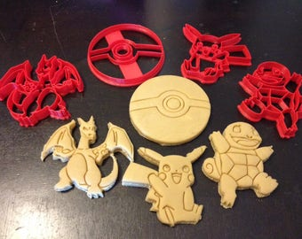 Pokemon Cookie Cutters 4 pack. Comes with Pikachu, Charizard, Squirtle, and the Poké Ball. Throw a Pokémon Themed Birthday Party