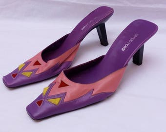 SERGIO ROSSI Leather Geometric Heels