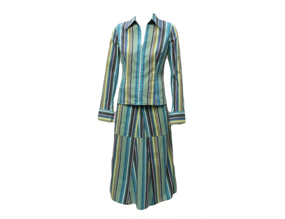 KENZO Jungle Striped Shirt and Wrap Skirt Set