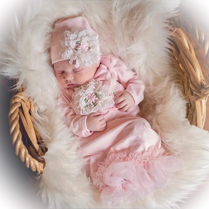 7a30e13e9 Newborn Girl Coming Home Outfit Newborn Girl Gown Pink