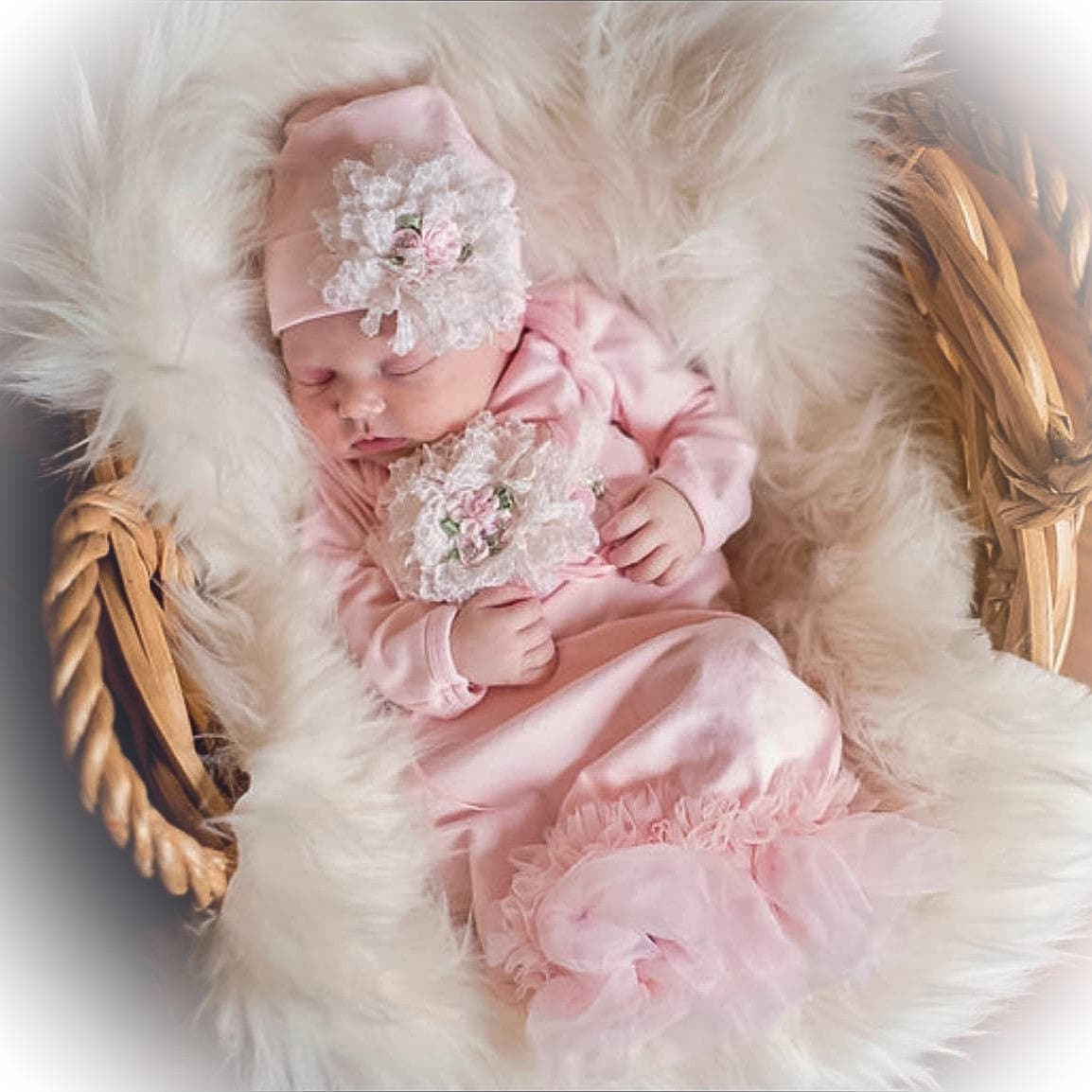 7814b093db020 Newborn Girl Coming Home Outfit Newborn Girl Gown Pink | Etsy