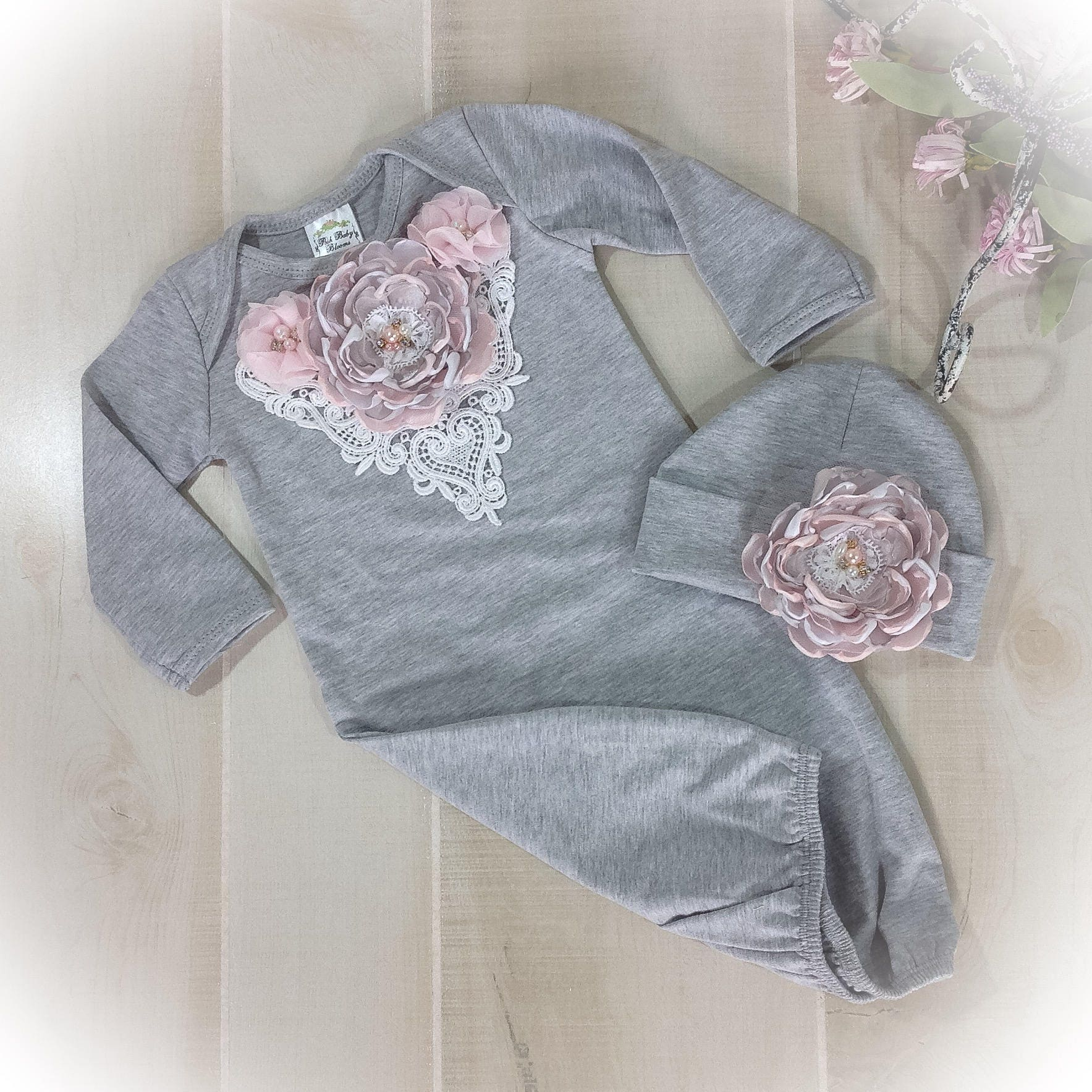 Newborn Girl Take Home Outfit, Pink Gray Layette Gown, Newborn Gown ...