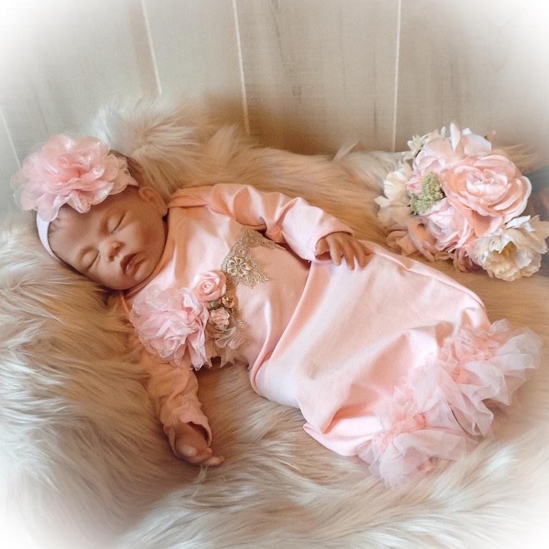 f6e489621 Newborn Girl Coming Home Outfit Newborn Girl Gown Pink | Etsy