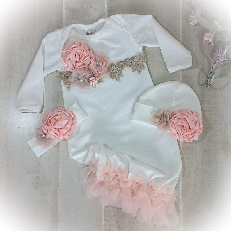 f24ebc660355b Newborn Girl Coming Home Outfit Baby Girl Gown Peach Coming