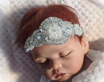 Baby Girl Headband with Rhinestones, Newborn Girl Tiara Headband, Baby Girl Crown Headband, Baby Photo Prop