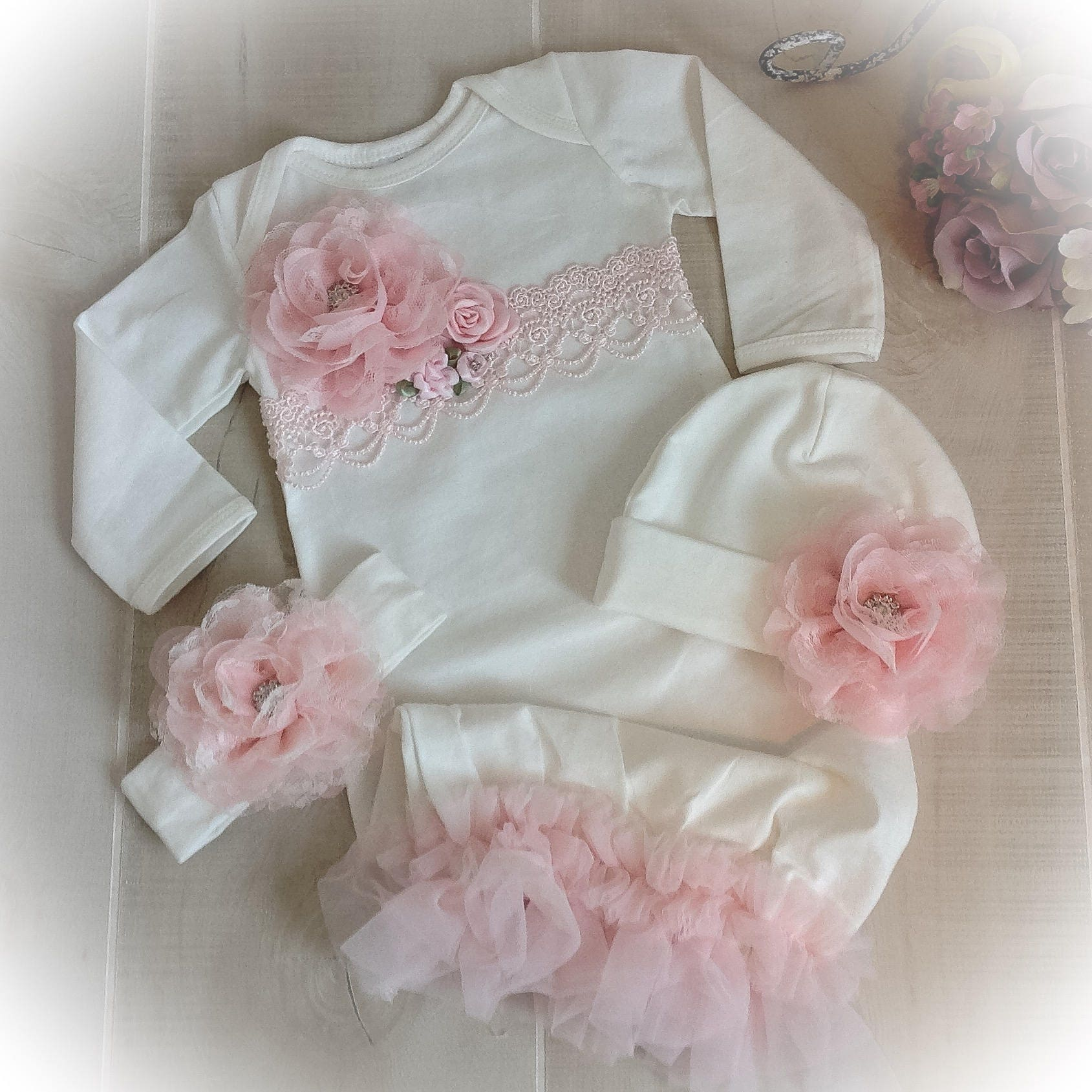 Newborn Girl Coming Home Gown, Baby Girl Outfit,Pink Coming Home ...