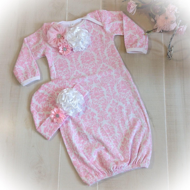 Newborn Girl Hospital Outfit, Newborn Girl Layette Gown, Baby Girl ...
