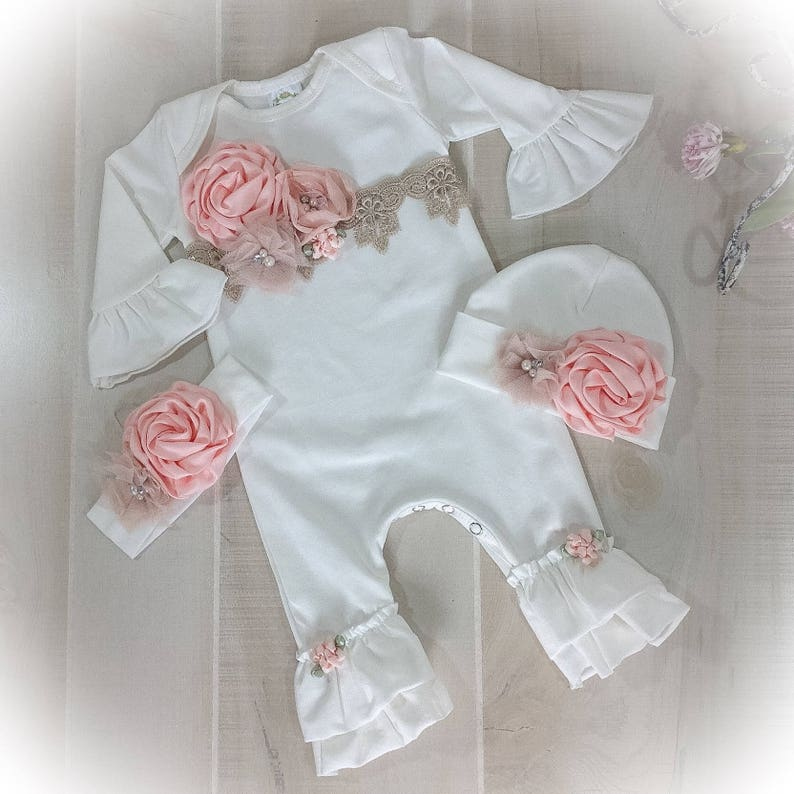 9d42d4685f72 Newborn Girl Coming Home Outfit Baby Girl Take Home Ivory