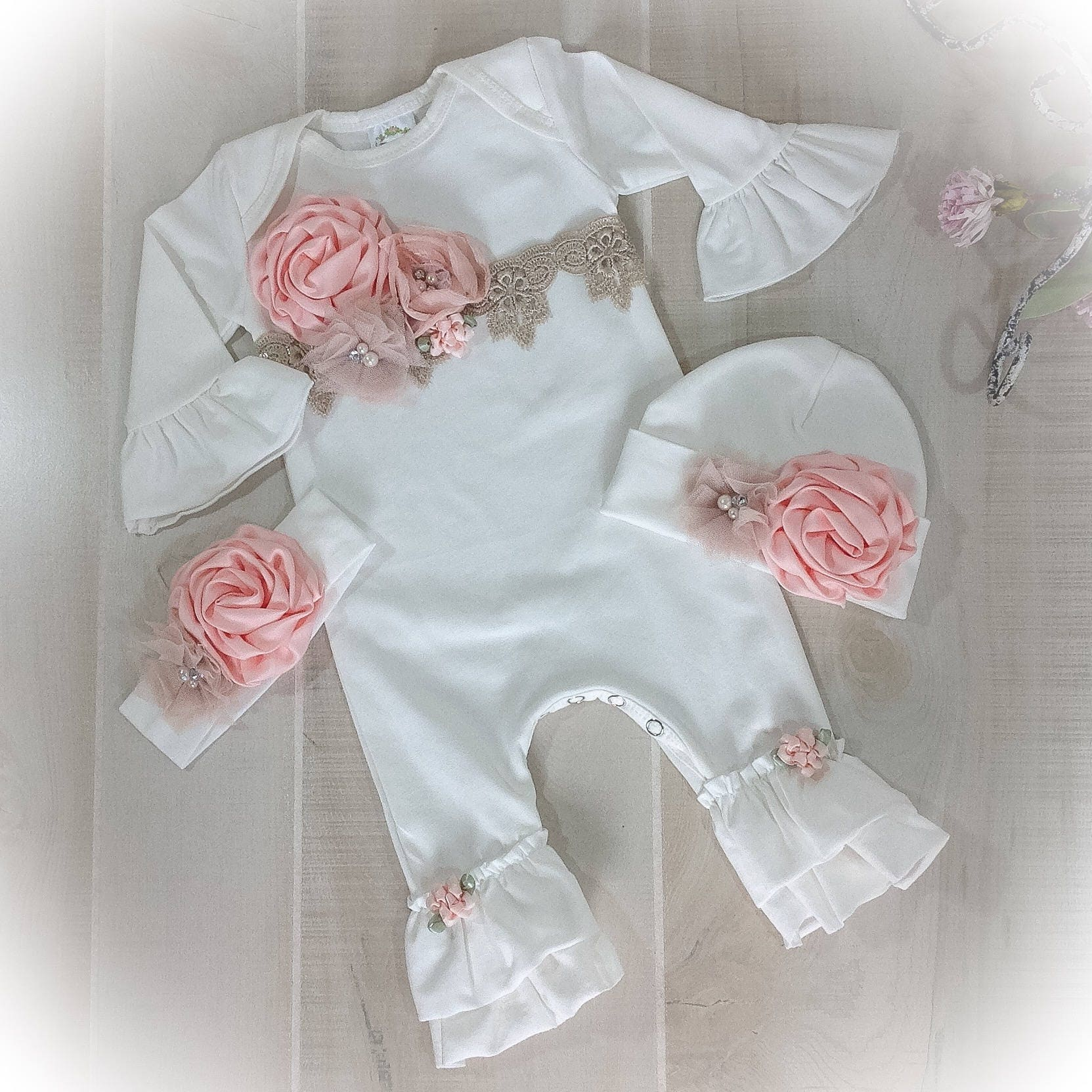 Newborn Girl Coming Home Outfit Baby Girl Take Home Ivory  c9d8597819