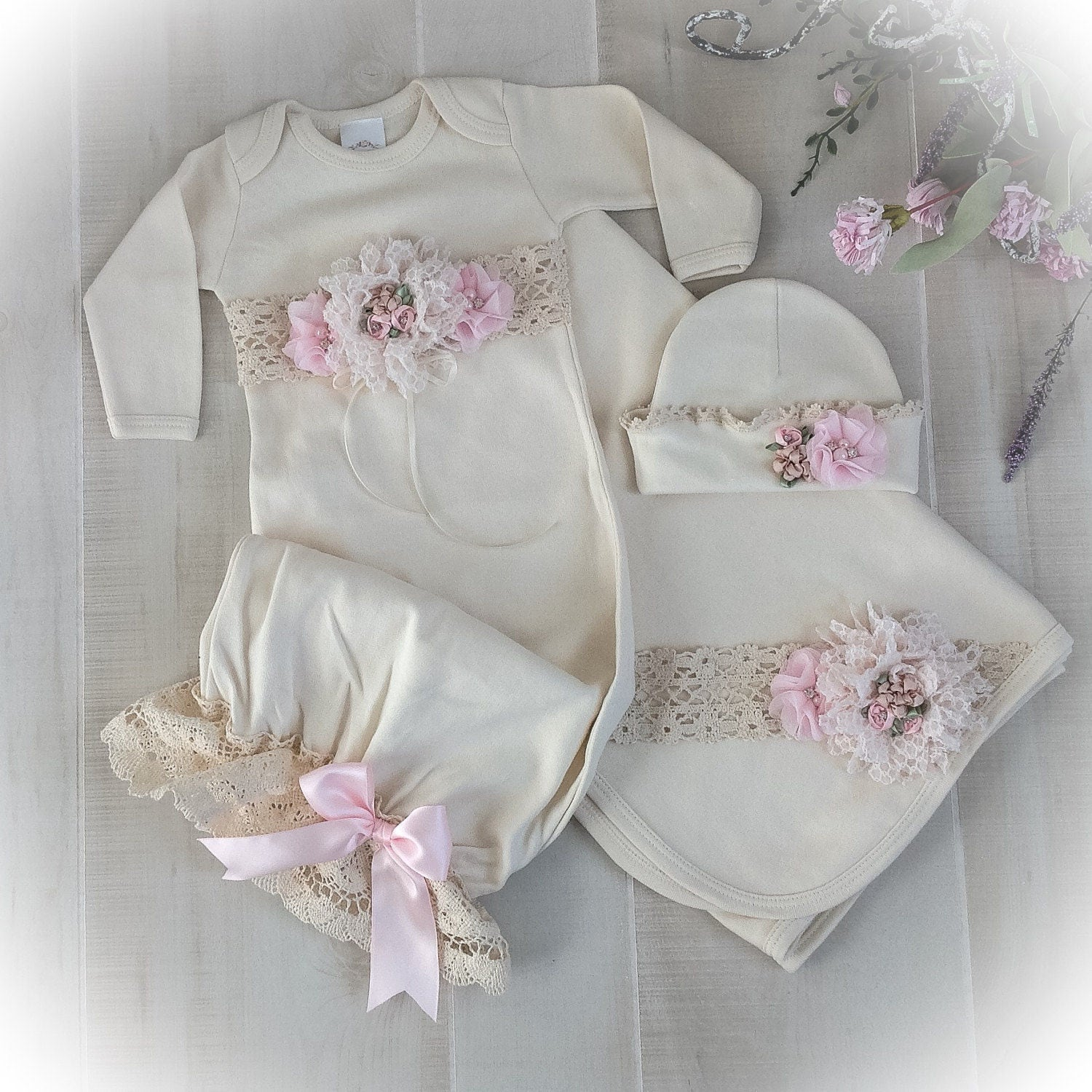 8b0a83915 Newborn Girl Coming Home Outfit Newborn Girl Gown Ivory and | Etsy