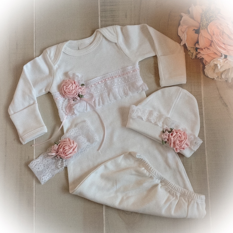 86936be2d0a14 Newborn Girl Coming Home Outfit Newborn Girl Gown White and