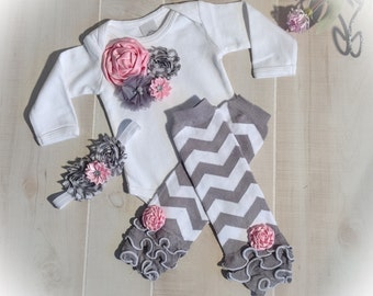 Unique baby gift etsy baby girl bodysuit baby girl leg warmers outfit in pink and gray chevron baby negle Images