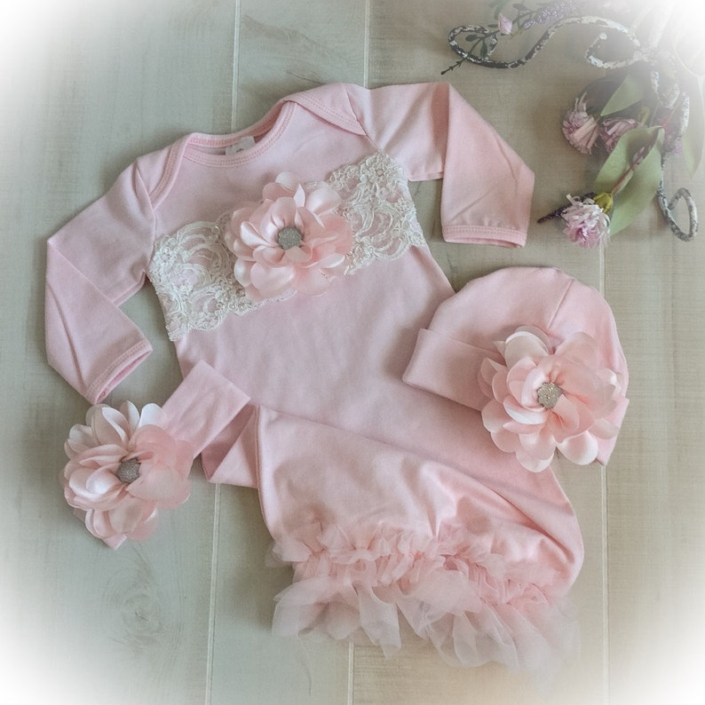 26d028a6b8f01 Baby Girl Coming Home Outfit Newborn Girl Gown Pink and