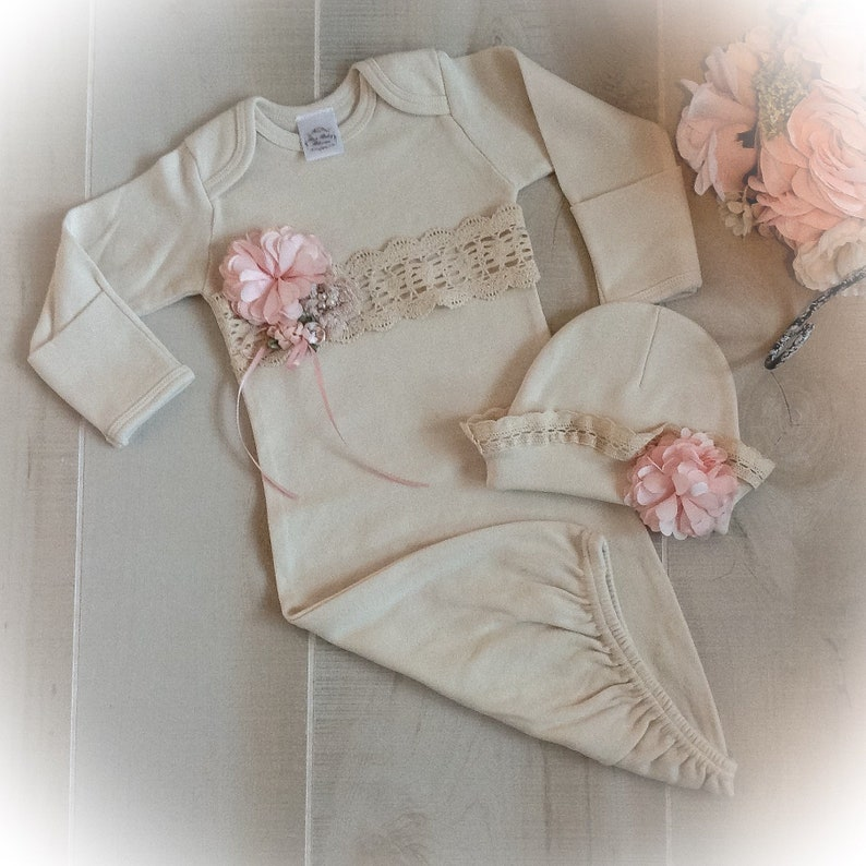 b97870d954da2 Newborn Girl Coming Home Outfit Newborn Girl Gown Ivory and