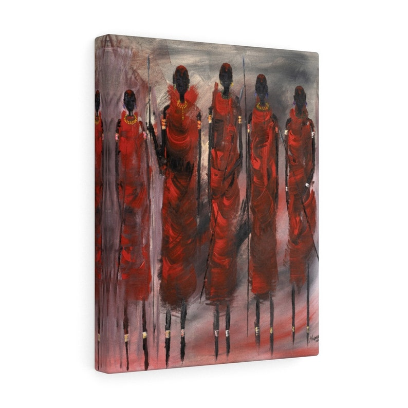 Home decor Office Canvas Gallery Wraps  African tribe print artwork Masai Warrior Series Large Stretched Canvas art print  Wall art