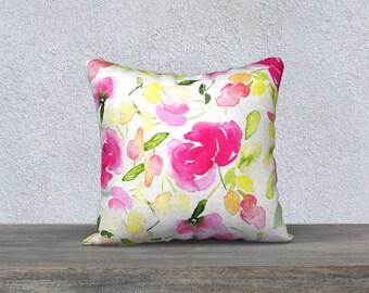 Pillow Case Flowers Watercolor/Housse de Coussin Fleurs Aquarelle