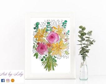 Illustration Bouquet Rose et Jaune