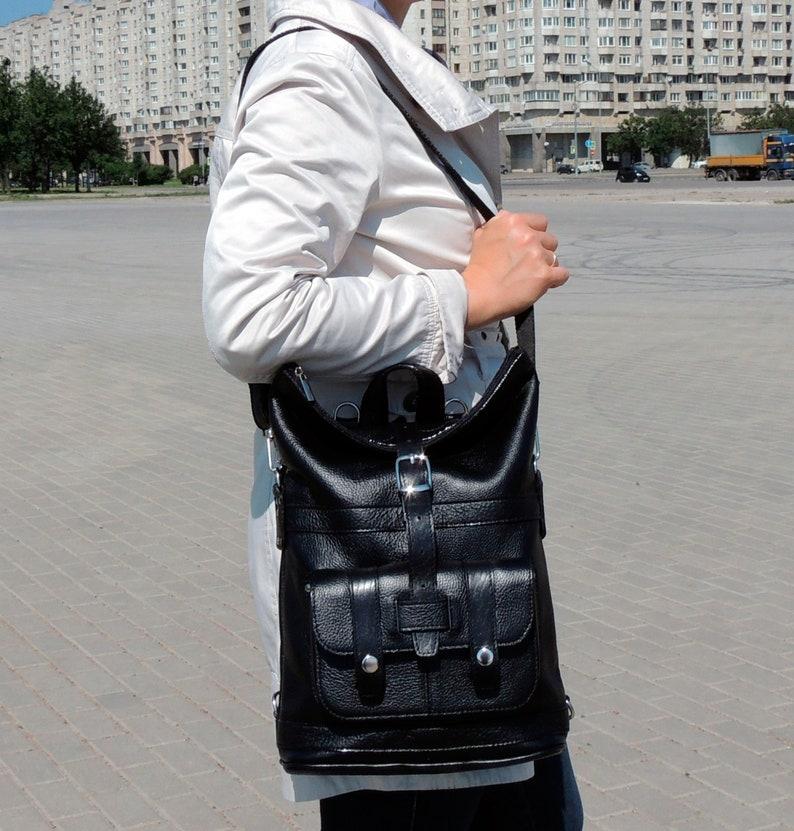 \u0421onvertible shoulder bag black women Leather backpack purse for women Roll top rucksack Medium handmade backpack with zipper with pockets