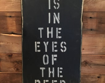 Wooden message board/sign/quote - rustic/black/humour