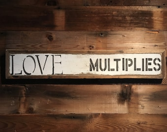 Sign/message board - rustic/love multiplies/white