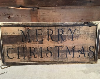 Wooden message/sign/quote decor - rustic/Merry Christmas