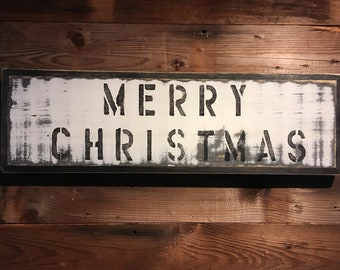 Wooden message/sign/quote - rustic/white/Merry Christmas