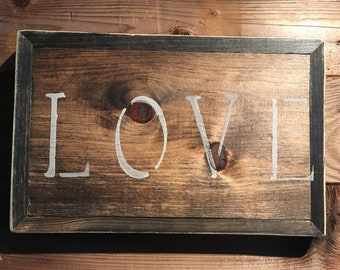 Message board/sign/quote - rustic/LOVE