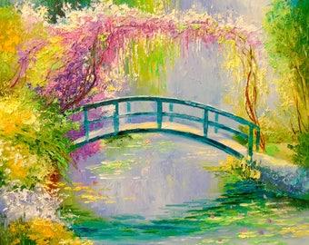 Bridge Monet  Flowers oil painting art, nature painting, bridge art,original oil art,sky art,painting,impressionism,bright,