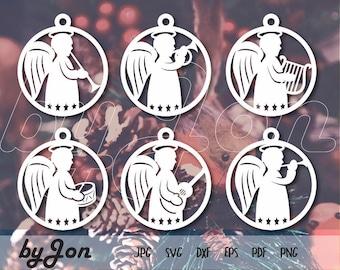 ByJon Download - SVG Christmas angel vector files, svg angel baubles christmas laser files. Silhouette Cricut